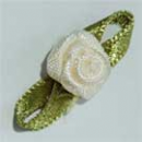 Satin Fabric Ribbon Bow with Flower - Ivory Cream Pk 50